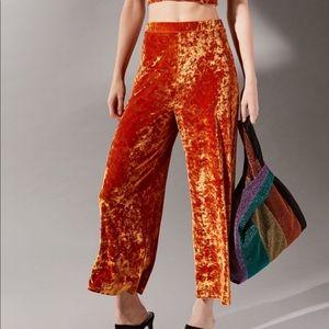 Orange Crushed Velvet cropped pants